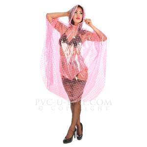 KLEMARO PVC Plastik - Poncho Regenponcho geschlossen CA14 PIG1 Pink transparent glänzend gepunktet - Auf Lager
