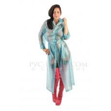 KLEMARO PVC Plastik - Mantel Regenmantel RA79ms BLT7 L Aquamarin-Blau halbtransparent - Auf Lager