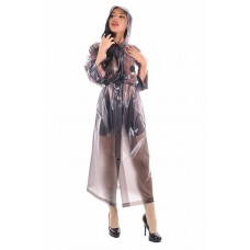 KLEMARO PVC Plastik - Mantel Regenmantel RA79ms BKT2 M Schwarz transparent - Auf Lager