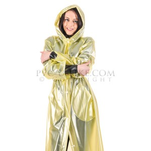 KLEMARO PVC Plastik - Mantel Regenmantel RA79ms YET3 M Gelb halbtransparent - Auf Lager