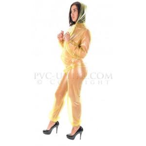 KLEMARO PVC Plastik - Overall Regenoverall Rainsuit Jumpsuit SU10 YET5 L Gelb transparent UNISEX SUIT - Auf Lager