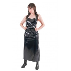 KLEMARO PVC Plastik - Schürze lang UN01 BKS1 Schwarz glänzend - Auf Lager