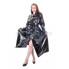 KLEMARO PVC Plastik - Mantel Trenchcoat Regenmantel schwarz RA82 DOUBLE BREASTED MAC